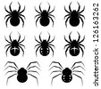 Set black spiders on white background. - stock vector