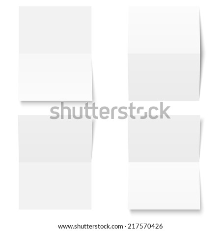 Set - blank sheet of white paper - folded - stock vector