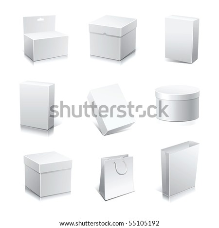 Set blank white boxes isolated on white - stock vector
