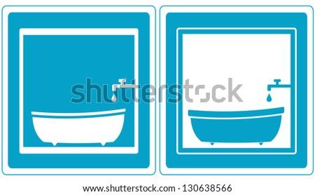 set blue bathroom symbol icons with tap, tub and bathtub - stock vector