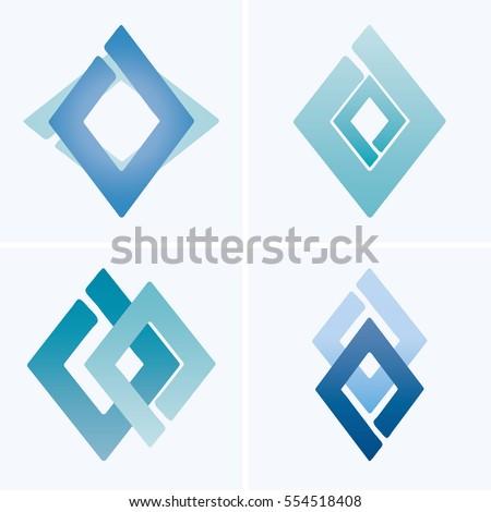 set blue diamondshaped logo stock vector 554518408 shutterstock rh shutterstock com diamond shaped logo