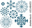 Set blue vintage snowflakes isolated on white (vector) - stock vector