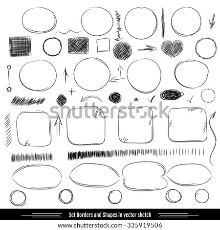 Set borders and shapes. Pencil sketches. Hand drawn scribble shapes A set of doodle line drawings. Vector design elements - stock vector