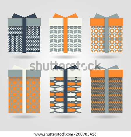 Set boxes for gifts with patterns - stock vector