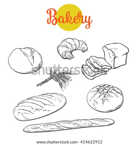 Set bread products, pastries vector on a white background, sliced loaf, French baguette, rye bread, wheat branch, cutting cakes, croissants, colored sketch style hand-drawn, bakery products bread - stock vector