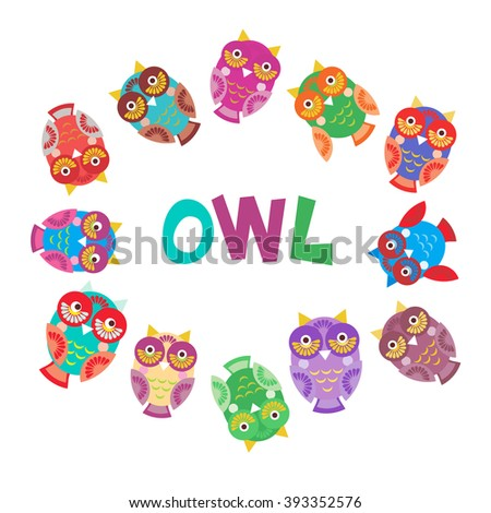 set bright colorful cute owls on white background, funny birds face with winking eye, bright colors. Vector - stock vector