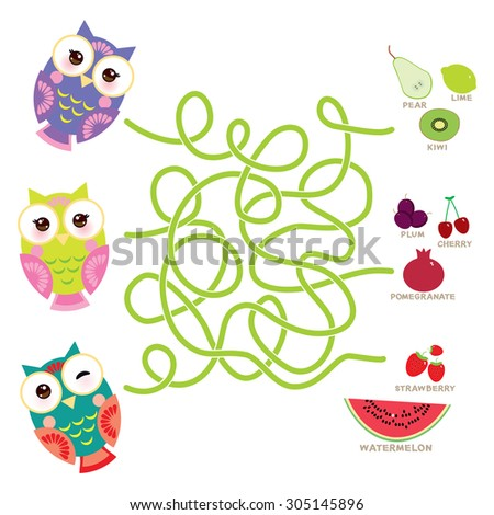 set bright colorful owls with fruits and berries on white background. labyrinth game for Preschool Children. Vector - stock vector
