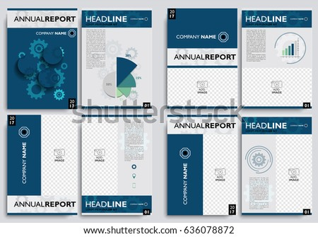 set brochure layout design template annual stock vector royalty
