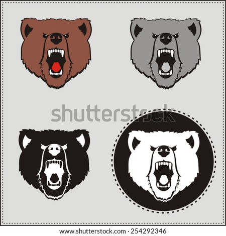 Set brown bear or grizzly head. Collection isolated brown bear head. Icon bear. Angry bear. - stock vector