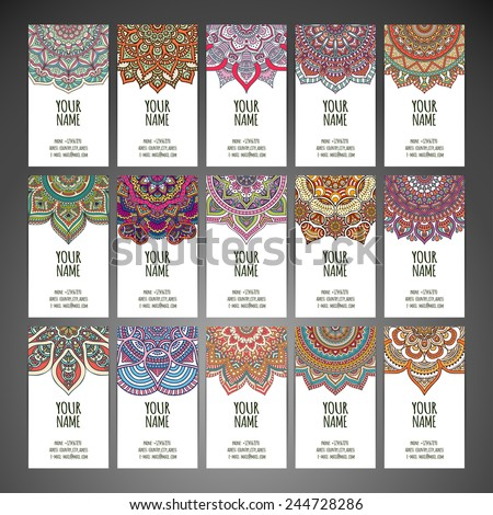 Set business card. Vintage decorative elements. Hand drawn background. Islam, Arabic, Indian, ottoman motifs.  - stock vector