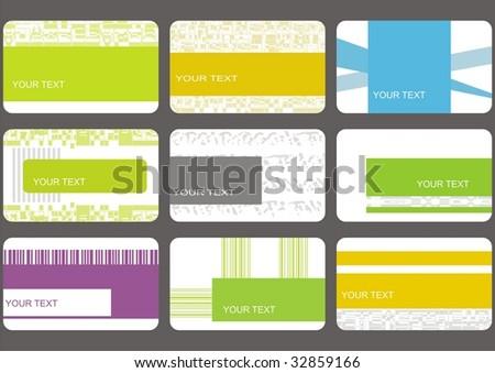 set business cards (set 19) - stock vector