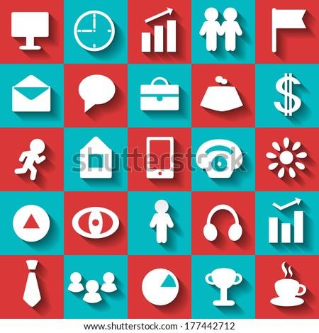 Set business flat icons. Abstract design logo. Logotype art - vector - stock vector