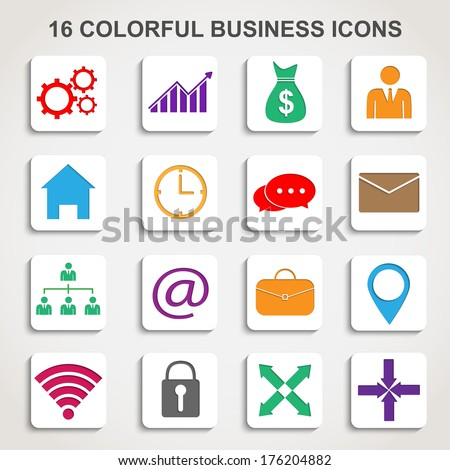 Set business icons - stock vector