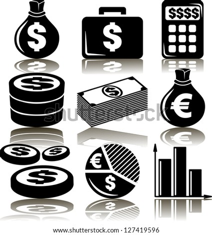 Set business money of icons - stock vector