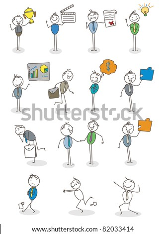 set businessman activity vector - stock vector