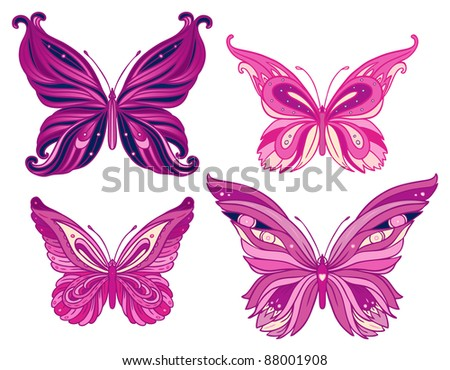 Set butterflies isolated on  white background - stock vector
