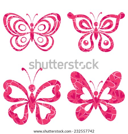 Set butterflies with red pink pattern isolated on white background. Eps10, contains transparencies. Vector - stock vector
