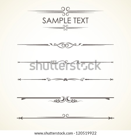 Set Calligraphic Design Elements, vector set: calligraphic design elements and page decoration - lots of useful elements - stock vector