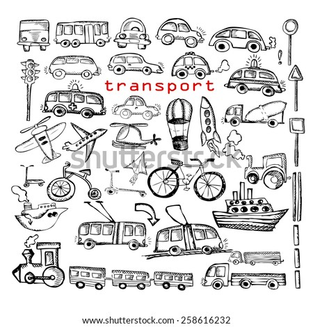 Set Car and transportation drawing icons pen. Vector - stock vector
