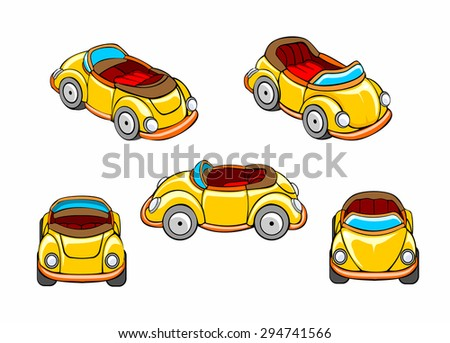 Set car at different angles. Vector cartoon isolated illustration on the white background. - stock vector