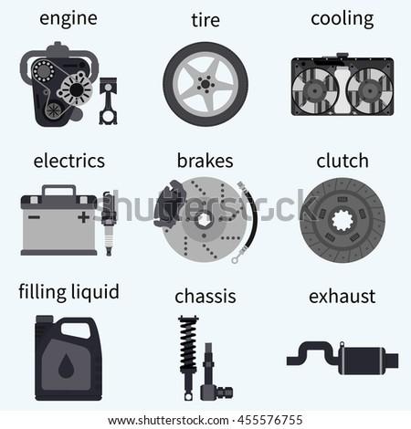 Set Car Parts Automobile Systems Car Stock Vector 455576755 ...