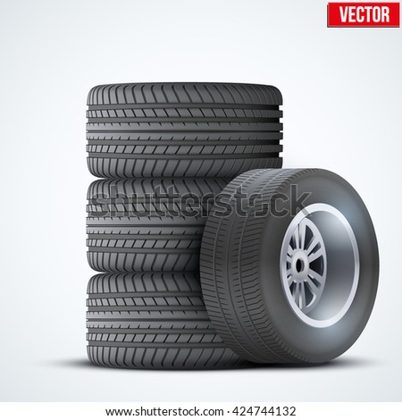 Set Car tires and wheel at warehouse. Vector Illustration isolated on white background - stock vector