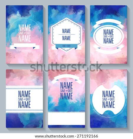 Set card Save The Date templates. For party, birthday cards, invitations. - stock vector