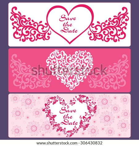 Set cards  of hearts, flowers, butterflies. - stock vector