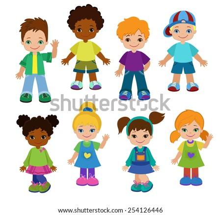 Set cartoon children, pupils.Happy kids. - stock vector