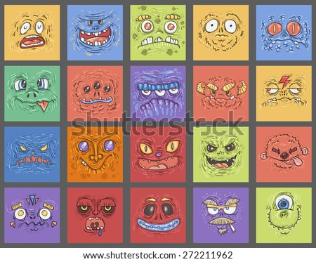 Set cartoon funny monster. Cartoon cute monster shows tongue. Vector. Sticker. Cartoon character. face - mask child's print for T-shirts - stock vector