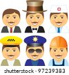 set cartoon isolated smiling men with mustache different professions - stock vector