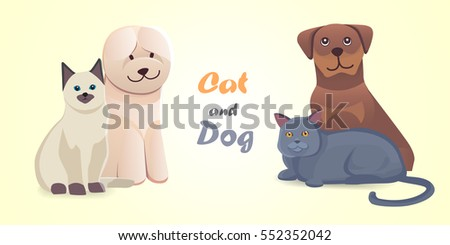 Set cat and dog together cartoon vector characters. Best friend happy pets. Fanny home animals lovely isolated illustration