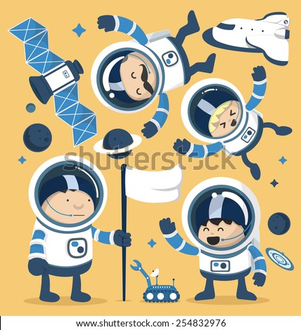 Set character astronauts in space and Rocket Ships Robots,Planets.Vector illustration - stock vector