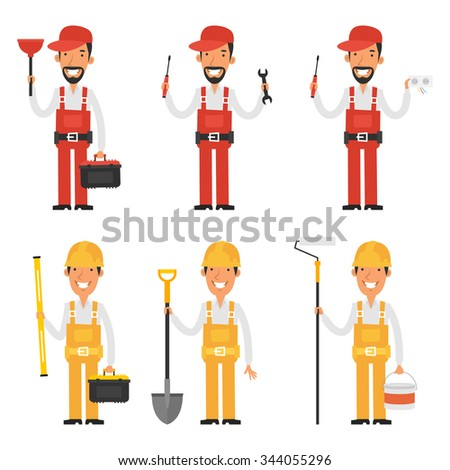 Set character builder and plumber - stock vector