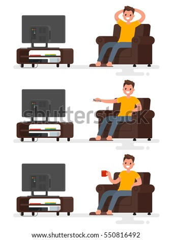 Set character man sitting in a chair and watching television on an isolated background. Vector illustration in a flat style