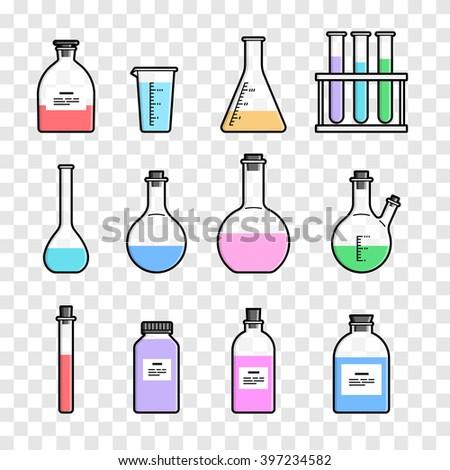 Set chemical flask. Erlenmeyer flask, distilling flask, volumetric flask, test tube. Vector illustration. - stock vector