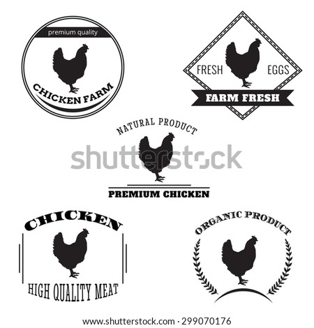 Set chicken and eggs farm logo emblem. Natural and fresh farm. Vector illustration - stock vector