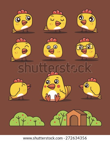 set chickens with different emotions  - stock vector