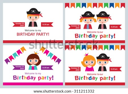 Set childrens party invitations birthday pirate stock vector set childrens party invitations birthday pirate birthday party for the princesses vector stopboris Image collections