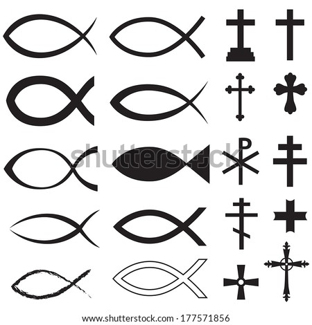 Set Christian fish symbol and different crosses - stock vector