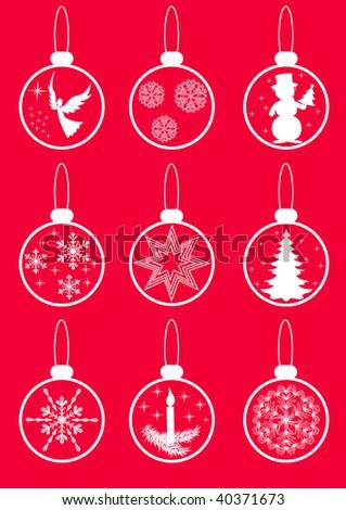 Set Christmas balls. Vector illustration. - stock vector