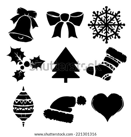 Set Christmas cartoon icons isolated
