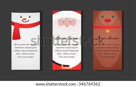 Set Christmas templates with Santa Claus, snowman and festive reindeer and place for text for your business - stock vector