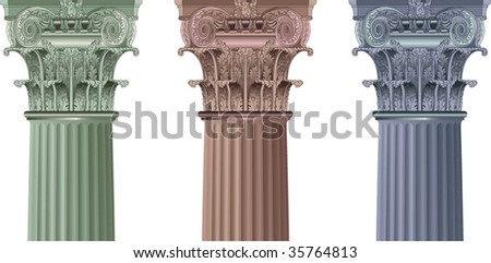 set classic columns - stock vector