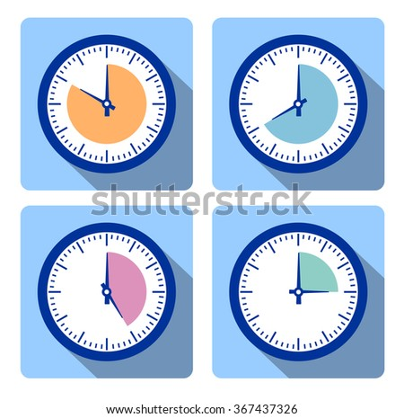 Set clock with the timer in different colors in the style of flat infographics - stock vector