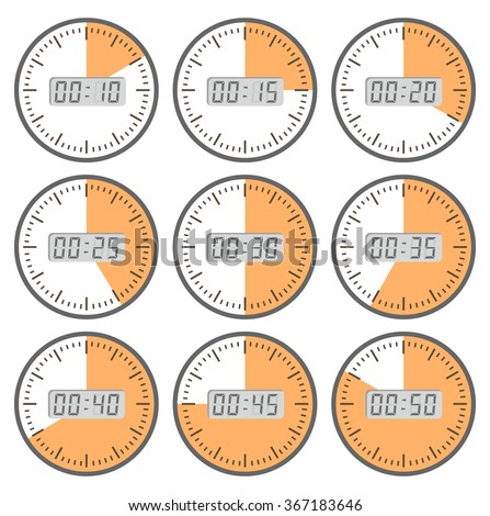 Set clock  with the timer in different colors in the style of icons infographics - stock vector