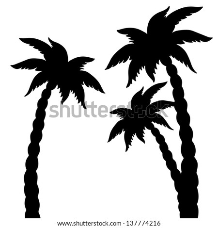 Set coconut palms trees silhouettes isolated on white background. Abstract design logo. Logotype art - vector - stock vector
