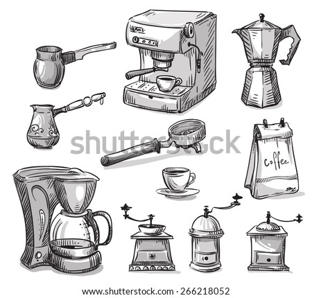 Set coffee making equipment - stock vector