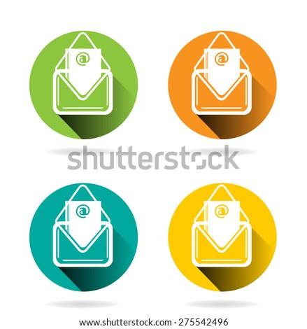 Set, collection, group of four colorful, modern, isolated icons - white envelopes, design for website, long shadow, concept of email - stock vector