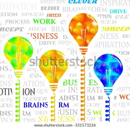 Set, collection, group of four light bulbs - green, yellow, orange, blue - made of triangular pattern with simple white shapes, white background with motivation words - stock vector